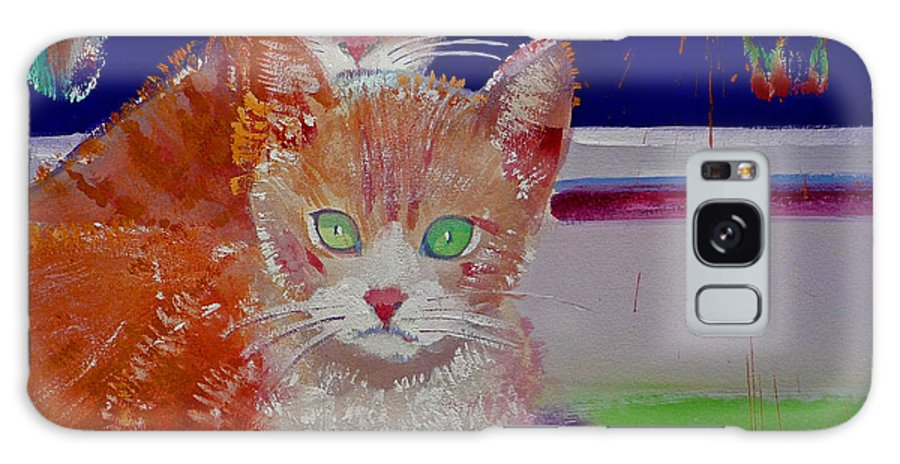 Kittens Galaxy S8 Case featuring the painting Kittens With Wild Wallpaper by Charles Stuart