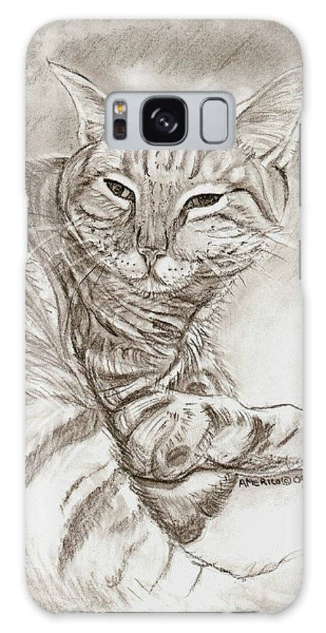 Cat Galaxy S8 Case featuring the drawing Kitty Cat by Americo Salazar