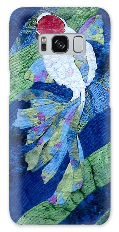 Single Koi Swimming Galaxy S8 Case featuring the tapestry - textile Koi Serenity by Dolores Fegan