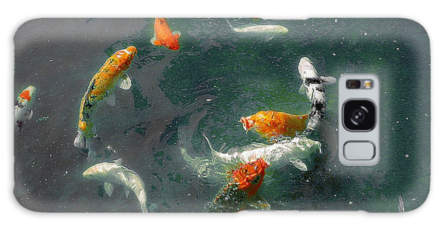 Koi Galaxy S8 Case featuring the photograph Koi Symphony 2 Stylized by Anne Cameron Cutri