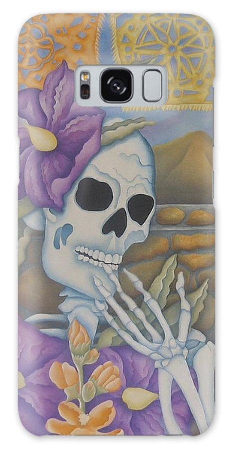 Calavera Galaxy S8 Case featuring the painting La Coqueta- The Coquette by Jeniffer Stapher-Thomas