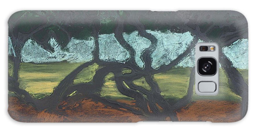 Contemporary Tree Landscape Galaxy Case featuring the mixed media La Jolla II by Leah Tomaino