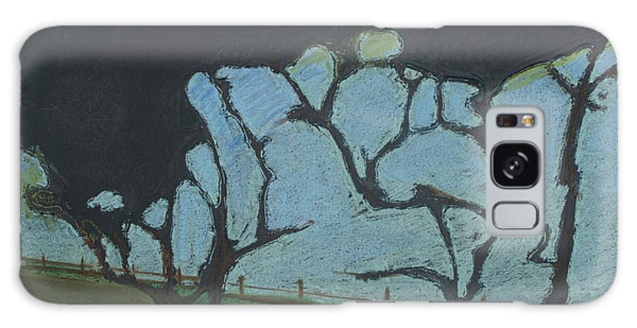 Contemporary Tree Landscape Galaxy Case featuring the mixed media La Jolla IIi by Leah Tomaino