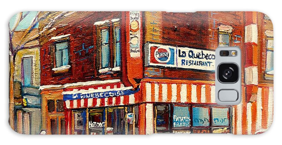 La Quebecoise Restaurant Deli Galaxy S8 Case featuring the painting La Quebecoise Restaurant Deli by Carole Spandau
