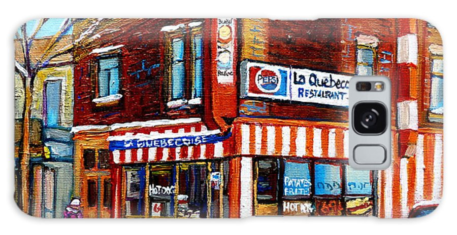 La Quebecoise Restaurant Galaxy S8 Case featuring the painting La Quebecoise Restaurant Montreal by Carole Spandau