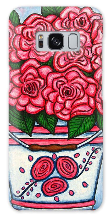 Rose Galaxy Case featuring the painting La Vie En Rose by Lisa Lorenz