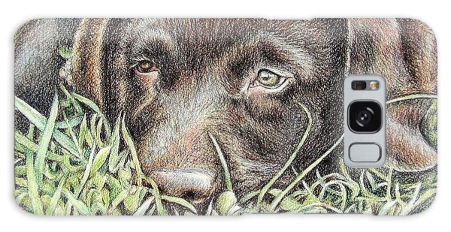 Dog Galaxy Case featuring the pastel Labrador Puppy by Nicole Zeug