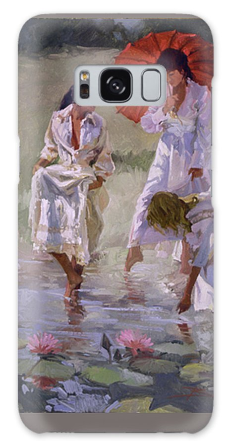 Figurative Galaxy S8 Case featuring the painting Ladies And Lilies by Betty Jean Billups