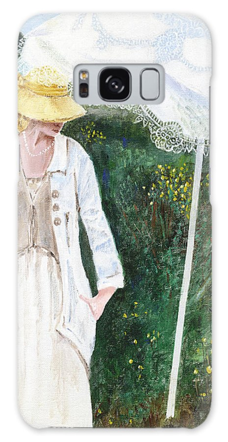 Lady Galaxy Case featuring the painting Lady And The Umbrella by Arline Wagner