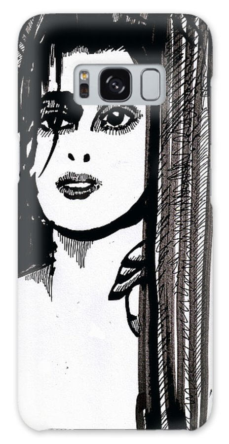 Sad Lady Galaxy S8 Case featuring the drawing Lady At The Door by Seth Weaver