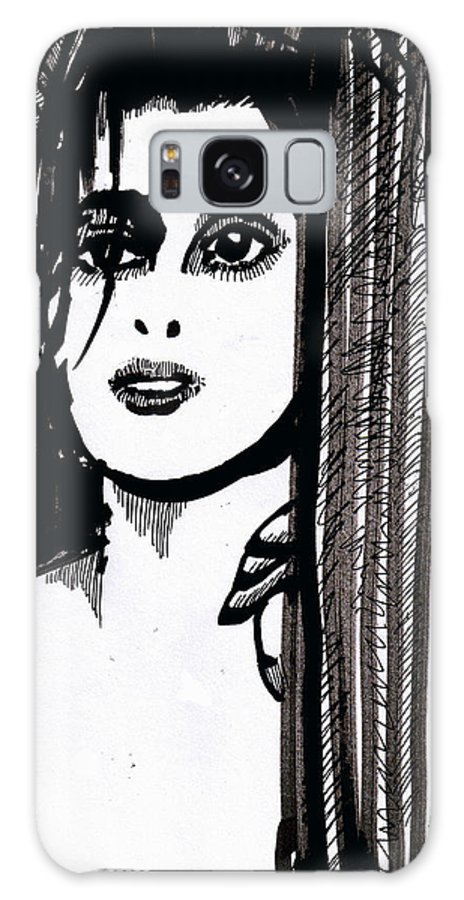 Sad Lady Galaxy Case featuring the drawing Lady At The Door by Seth Weaver