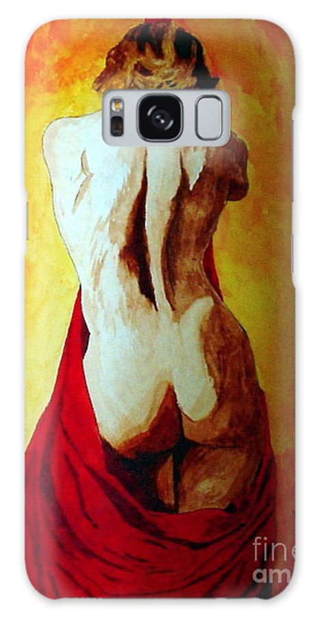 Nude Red Lady In Red Galaxy Case featuring the painting Lady In Red by Herschel Fall