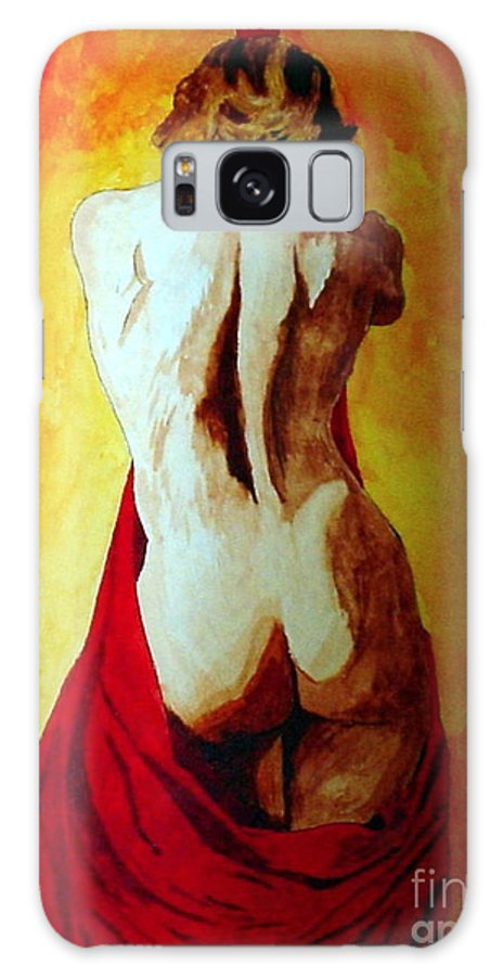 Nude Red Lady In Red Galaxy S8 Case featuring the painting Lady In Red by Herschel Fall