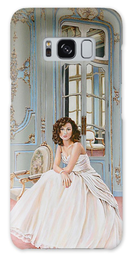 Woman Lady In Waiting Chair Bridal Bride Elegant Light Painting Acrylic Andy Lloyd Blue Ornate Walls Window Galaxy S8 Case featuring the painting Lady In Waiting by Andy Lloyd