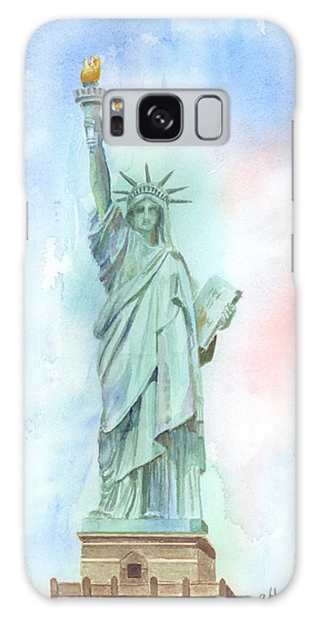 Statue Of Liberty Galaxy S8 Case featuring the painting Lady Liberty by Arline Wagner