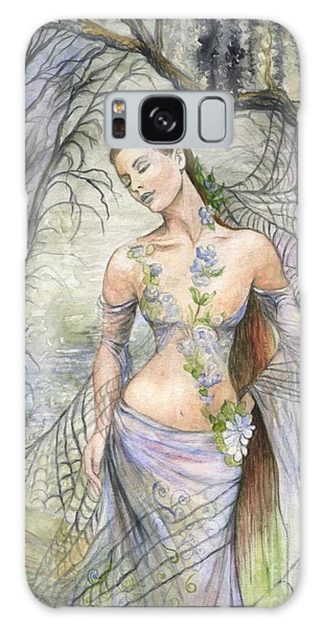 Fantasy Galaxy Case featuring the painting Lady Of The Web by Morgan Fitzsimons