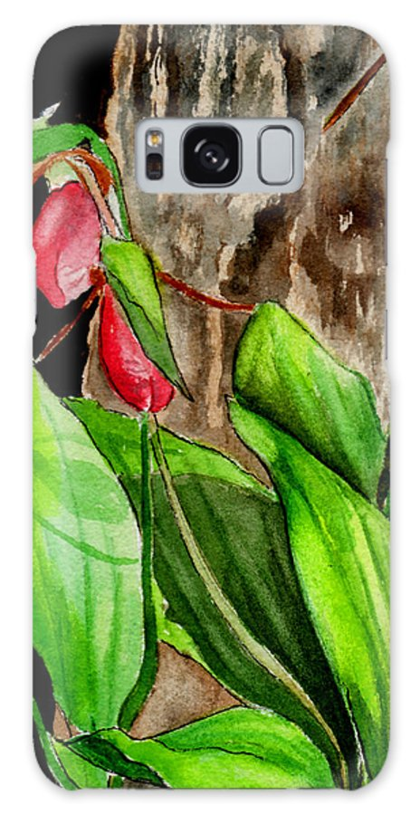 Watercolor Galaxy S8 Case featuring the painting Lady Slippers by Brenda Owen