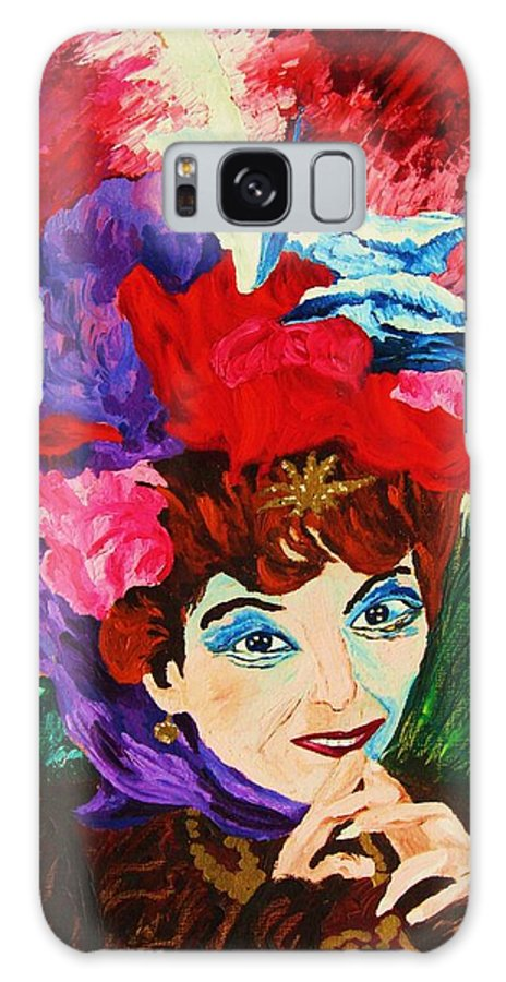 Red Hats Galaxy S8 Case featuring the painting Lady With The Red Hat by Carole Spandau