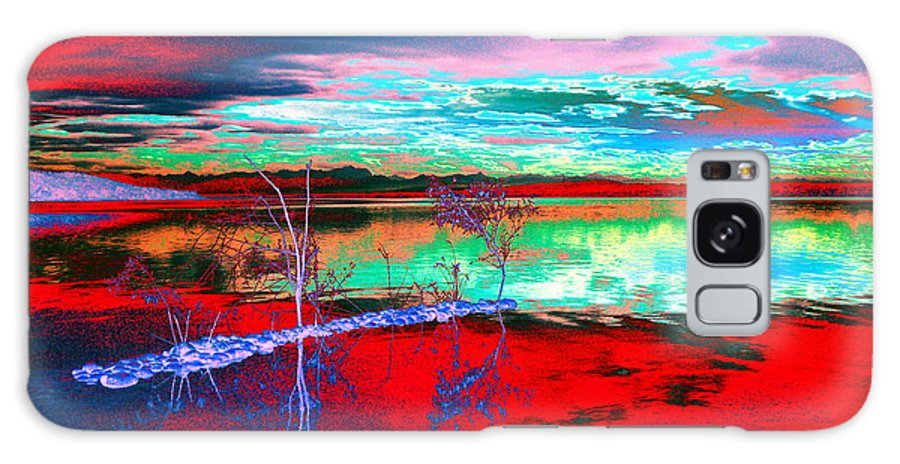 Sea Galaxy Case featuring the digital art Lake In Red by Helmut Rottler