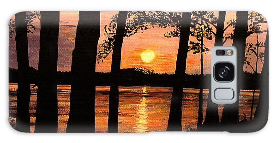 Sunset Galaxy S8 Case featuring the painting Lake Sunset by Patricia L Davidson