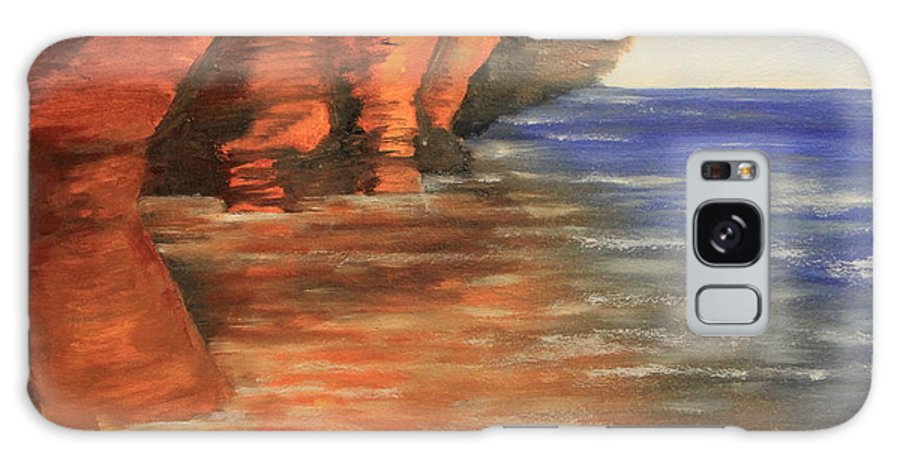 Lake Superior Galaxy S8 Case featuring the painting Lake Superior Cave by Joi Electa