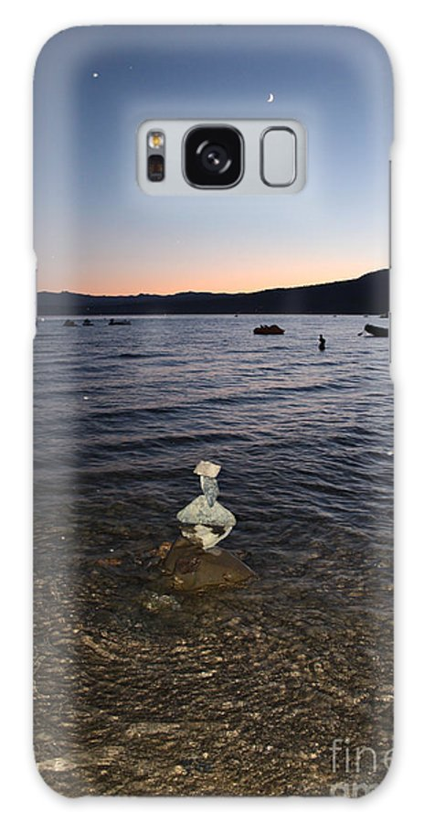 Lake Tahoe Galaxy S8 Case featuring the photograph Lake Tahoe Sunset With Rocks And Black Framing by Carol Groenen