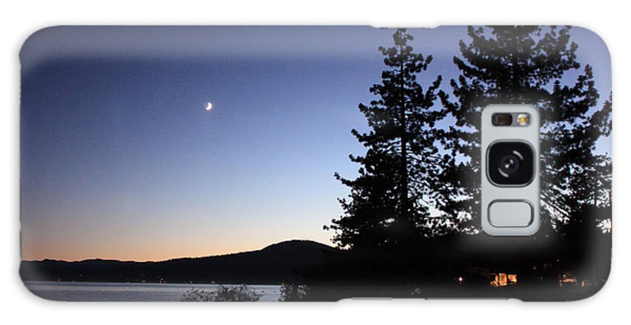 Lake Tahoe Sunset Galaxy S8 Case featuring the photograph Lake Tahoe Sunset With Trees And Black Framing by Carol Groenen