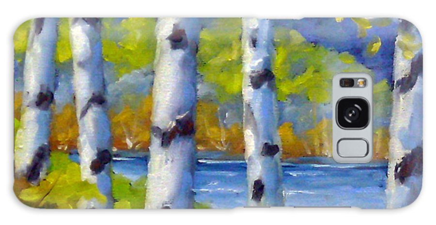Original Painting;oil; Landscape; Birches; Trees; Nature; Richard T Pranke; Lake Galaxy S8 Case featuring the painting Lake View by Richard T Pranke