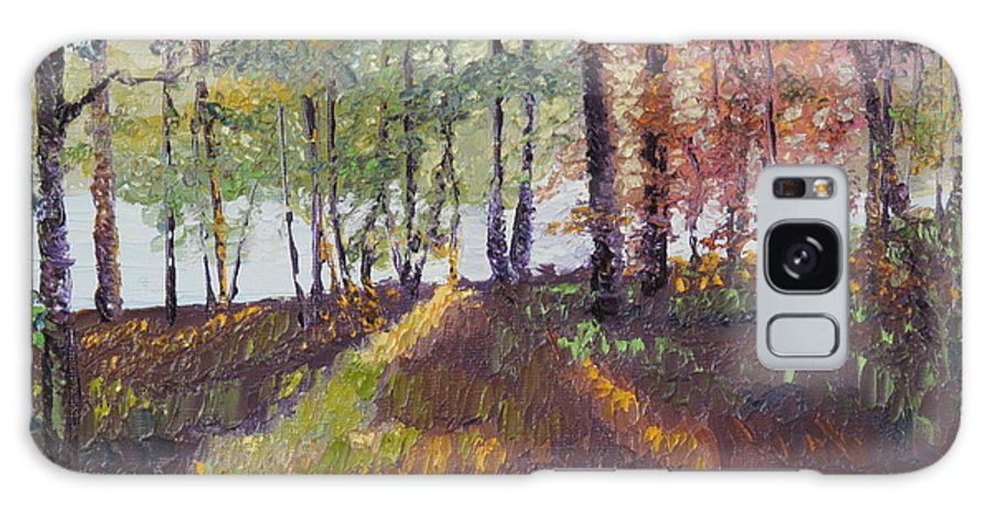 Landscape Galaxy S8 Case featuring the painting Lakeside Shadows by Lea Novak