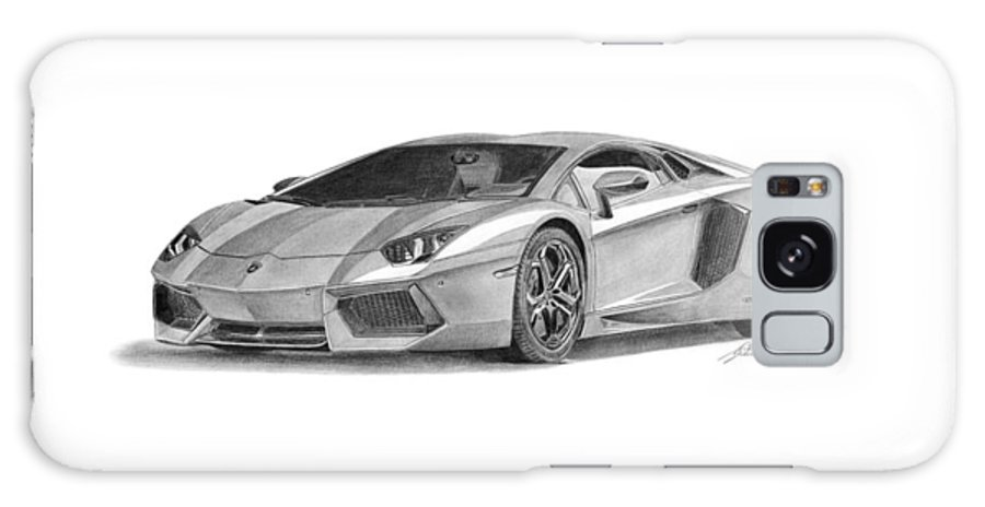 Car Galaxy S8 Case featuring the drawing Lamborghini Aventador Lp700-4 by Gabor Vida
