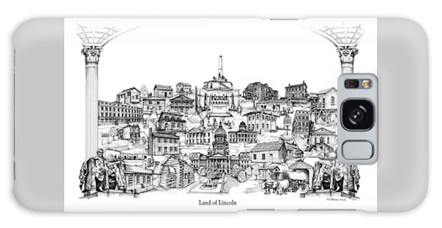 City Drawing Galaxy Case featuring the drawing Land Of Lincoln by Dennis Bivens