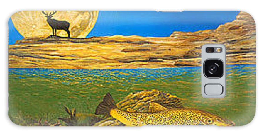 Artwork Galaxy S8 Case featuring the painting Landscape Art Fish Art Brown Trout Timing Bull Elk Full Moon Nature Contemporary Modern Decor by Baslee Troutman