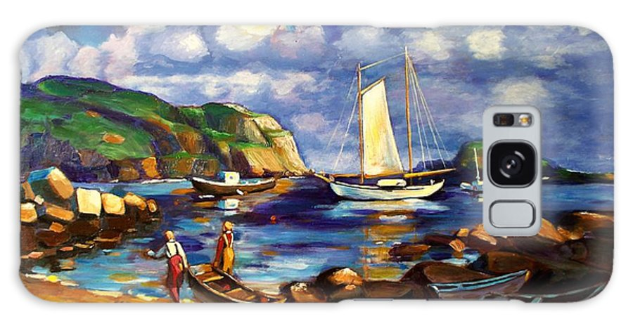 Art Galaxy Case featuring the painting Landscape with Boats by RB McGrath