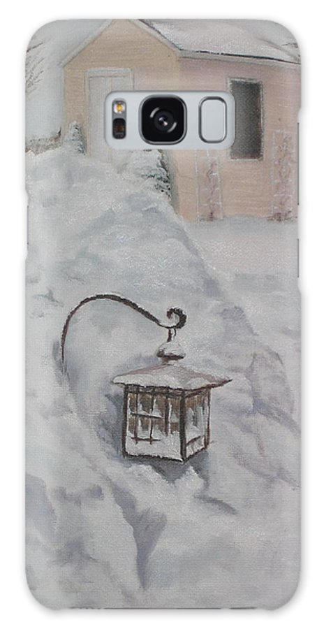 Snow Galaxy S8 Case featuring the painting Lantern In The Snow by Lea Novak