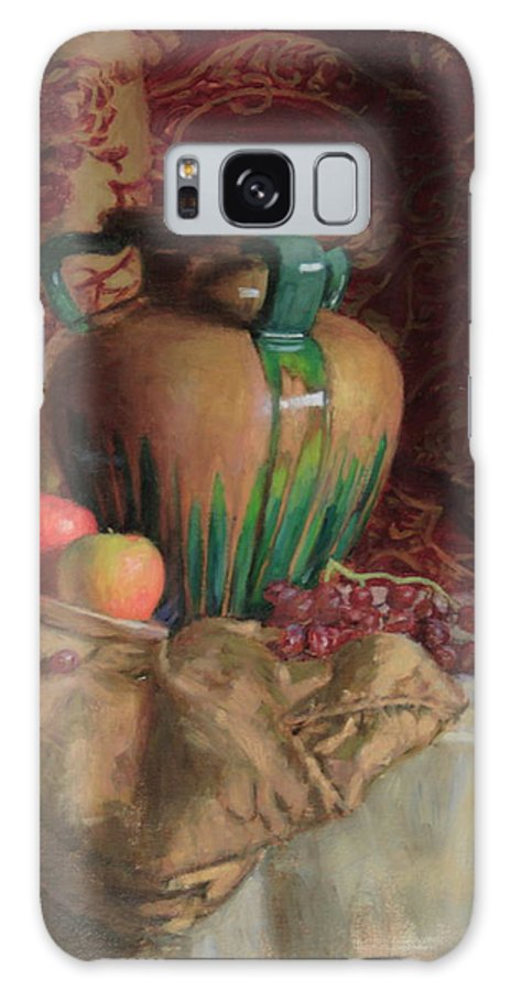 Vase Galaxy S8 Case featuring the painting Large Vase With Apples by Walter Lynn Mosley
