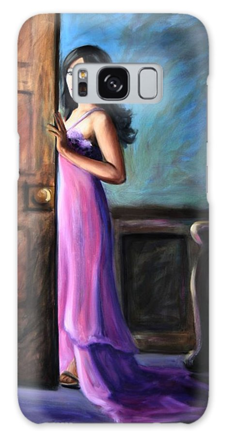 Woman Galaxy S8 Case featuring the painting Last Glance by Maryn Crawford