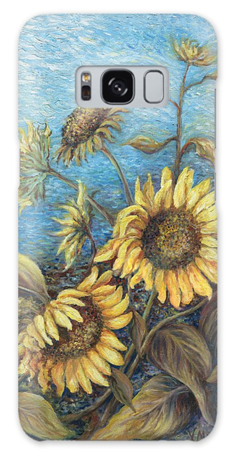 Sunflowers Galaxy S8 Case featuring the painting Late Sunflowers by Valerie Meotti