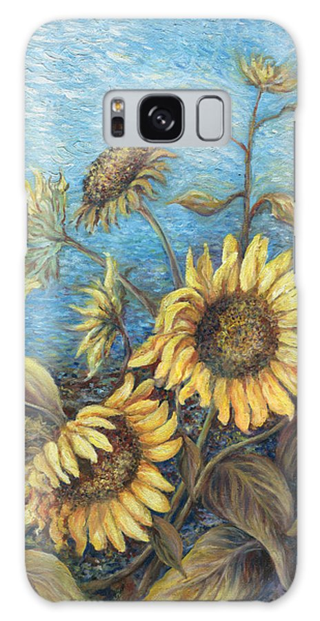 Sunflowers Galaxy Case featuring the painting Late Sunflowers by Valerie Meotti
