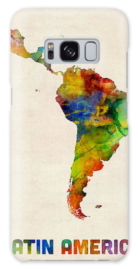 South America Map Galaxy S8 Case featuring the digital art Latin America Watercolor Map by Michael Tompsett