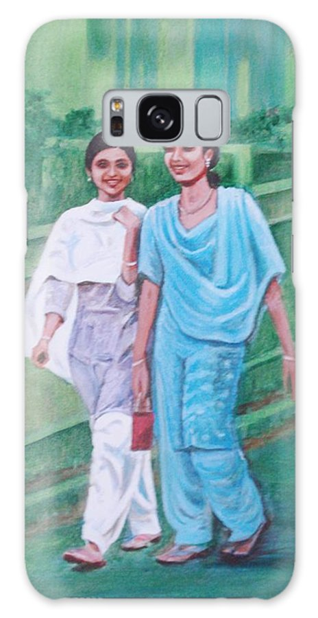 Galaxy S8 Case featuring the painting Laughing Girls by Usha Shantharam