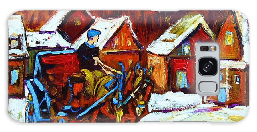 Horse And Carriage Galaxy Case featuring the painting Laurentian Village Ride by Carole Spandau