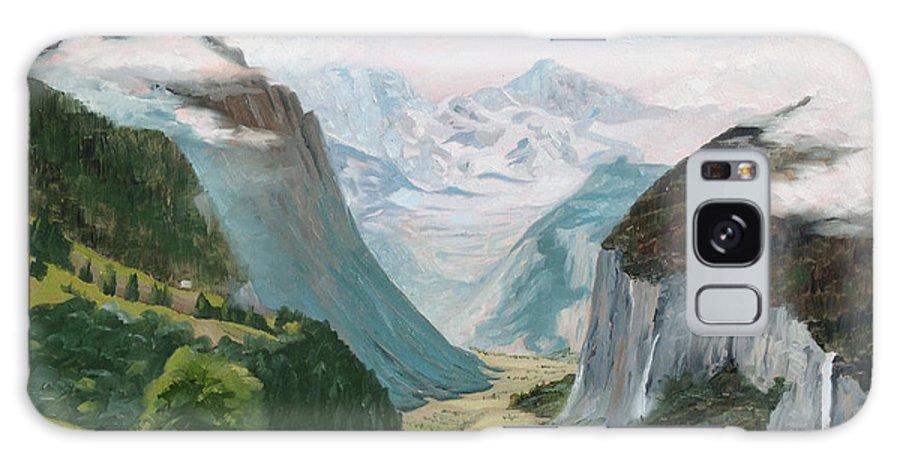 Switzerland Galaxy Case featuring the painting Lauterbrunnen Valley Switzerland by Jay Johnson
