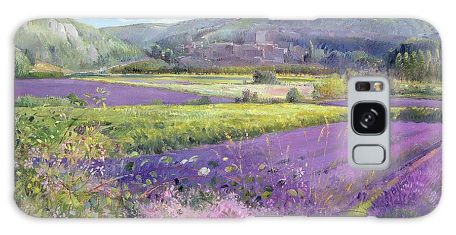 Field; South Of France; French Landscape; Hills; Hill; Landscape; Flower; Flowers; Field; Tree; Trees; Bush; Bushes; France; Provence Galaxy Case featuring the painting Lavender Fields In Old Provence by Timothy Easton