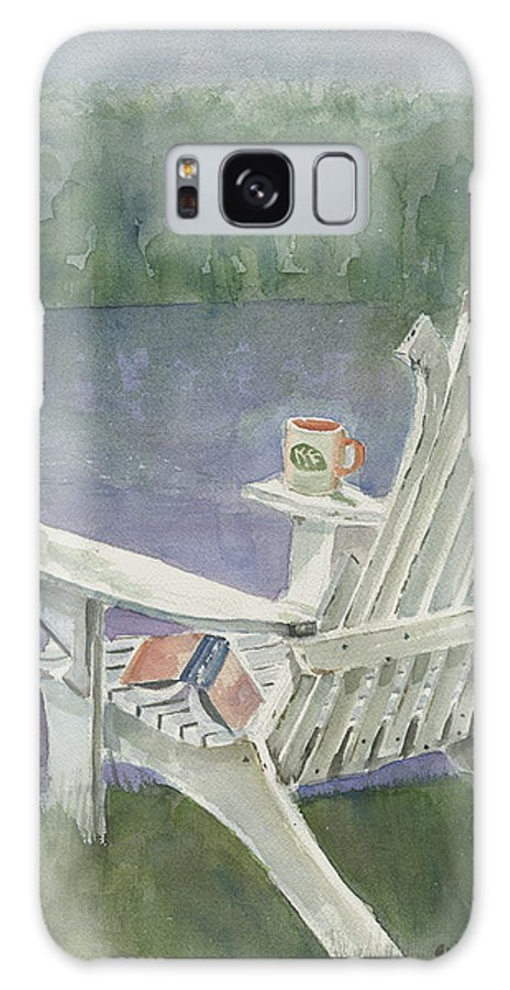 Chair Galaxy S8 Case featuring the painting Lawn Chair By The Lake by Arline Wagner