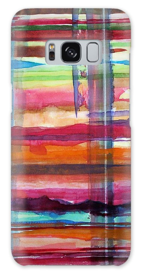 Abstract Galaxy S8 Case featuring the painting Layered by Suzanne Udell Levinger