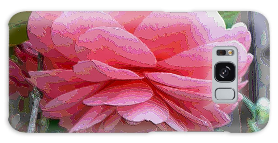 Pink Camellia Galaxy S8 Case featuring the photograph Layers Of Pink Camellia - Digital Art by Carol Groenen