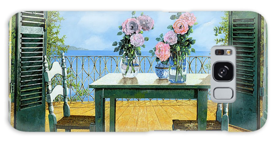 Terrace Galaxy S8 Case featuring the painting Le Rose E Il Balcone by Guido Borelli
