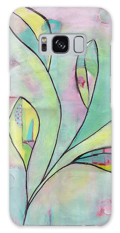 Leaves Galaxy S8 Case featuring the painting Leaves On Abstract Background by Patricia Cleasby