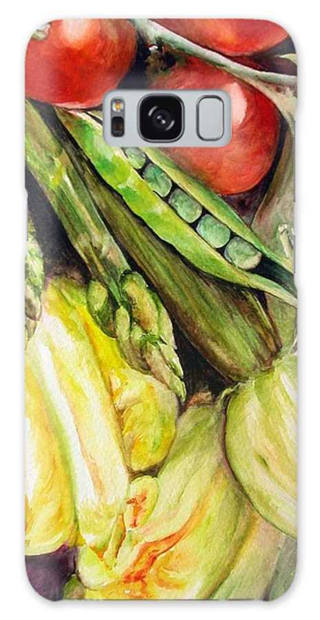 Still Life Galaxy Case featuring the painting Legumes by Muriel Dolemieux