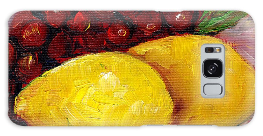 Still Life Galaxy S8 Case featuring the painting Lemon And Grapes Still Life Grace Venditti Montreal Art by Grace Venditti